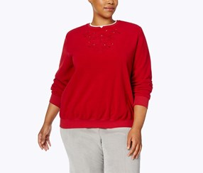 Plus Size Embroidered Sweater, Red