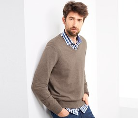 Men's V-Neck Sweater, Camel