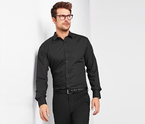 Men's Shirt With Allover Print, Black