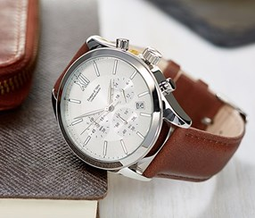 Men Watch, Brown/Silver