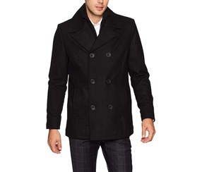 Reaction Double Breasted Wool Blend Peacoat, Black