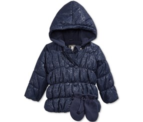 Rothschild Baby Girl's 2-Pc. Embossed Floral-Print Puffer Jacket & Mittens, Navy Blue