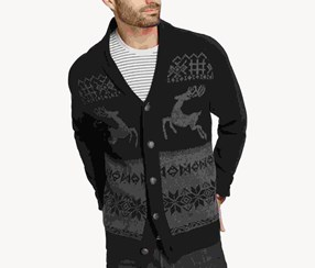 Weatherproof Vintage Men's Reindeer Cardigan, Black