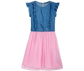 Guess Girl's Denim Mesh Dress, Blue/Pink