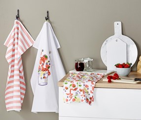 Dish Towels Set of 3, White/Red