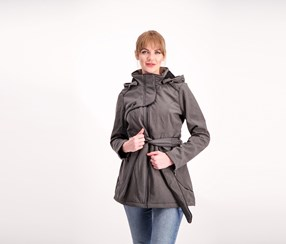 Steve Madden Softshell Hooded Coat, Grey Heather