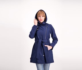 Steve Madden Asymmetrical Zip Softshell Coat, Navy