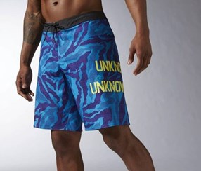 Reebok Men's Super Nasty Core Camo Board Shorts, Blue/Grey/Purple/Yellow