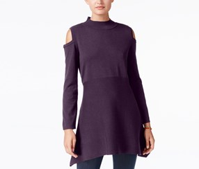 Style & Co Cold Shoulder Mock Turtle Neck Tunic Sweater, Dark Grape