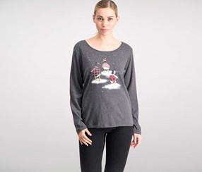 Women's Cotton Geese-print T-Shirt, Charcoal Heather