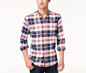 Club Room Men's Plaid Stretch Flannel Shirt, Navy Combo