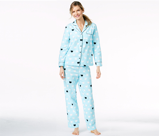 ca85341c972fe Charter Club Women s Flannel Notch Collar Top and Pajama Pants Set ...