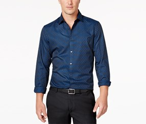 Alfani Men's Levon Checked Shirt, Navy Blue