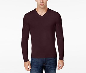 Club Room Men's Merino Wool V-Neck Sweater, Red Plum