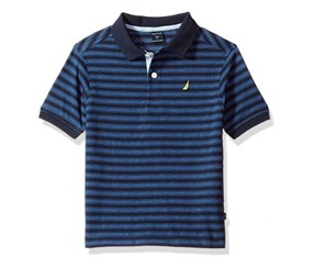 Nautica Boys Short Sleeve Striped Deck Polo Shirt, Navy