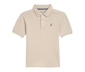 Nautica Little Boys Short Sleeve Solid Deck Stretch Polo, Oat Heather