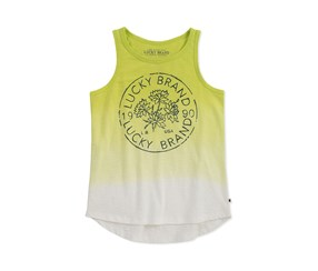 Lucky Brand Kids Girl Flower Logo Gloria Tank, Sunny Lime
