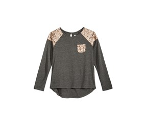 Sequin Long-Sleeve T-Shirt, Charcoal Heather