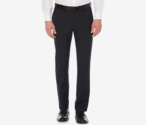 Perry Ellis Men's Classic Fit Textured Front Pants, Navy