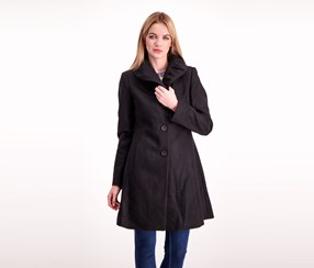 T Tahari Abigail Wool-Blend Coat, Black