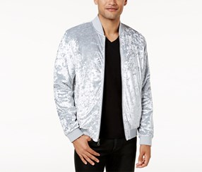 Inc Men's Spade Velvet Bomber Jacket, Grey