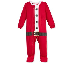 Family Pajamas Boy's Girl's Santa Suit Footed Pajamas, Red