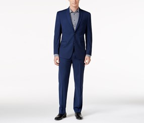 Marc New York Men's Classic-Fit Blue Mini-Check Suit, Navy