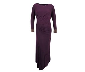 Calvin Klein Women's Long Sleeve Ruched Jersey Gown, Purple
