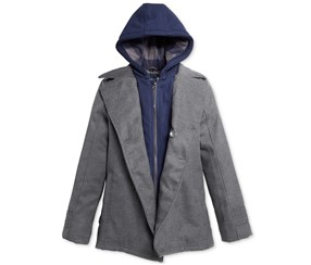 London Fog Boys Layered-Look Hooded Jacket, Grey