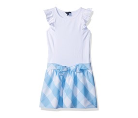 Nautica Ruffle Sleeveless With Woven Gingham Dress, Blue/White