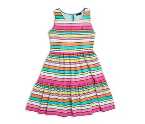 Nautica Toddler Girls' Multi-Stripe Tiered Dress, Bright Pink