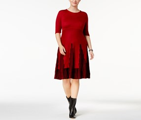 NY Collection Plus Size Fit Flare Sweater Dress, Red