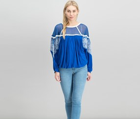 Free People Women's Carly Embroidered Blouse, Blue