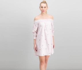 J.o.a. Embroidered Off-The-Shoulder Dress, Pink/Ivory