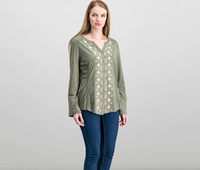 . Women's Embroidered Peasant Top, Prair Med Olive