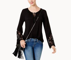 INC International Concepts Lace-Trim Peasant Top, Deep Black