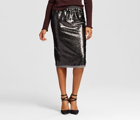 Who What Wear Women's Sequin Pencil Skirt, Gray