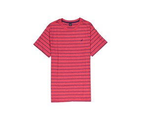 Nautica Kids Boys Short Sleeve Striped Tee, Red Rouge