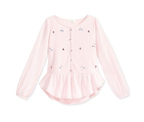 Jessica Simpson Girl's Embellished Peplum Top, Chalk Pink