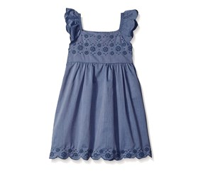 Kensie Girls' Flower Eyelet Hem Dress, Medium Blue