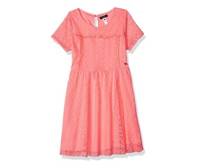 Kensie Girls' Short Sleeve Lace Dress, Neon Light Coral