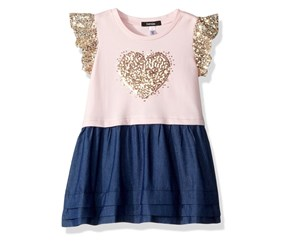Kensie Little Girls Sequins Heart Dress, Blushing Bride