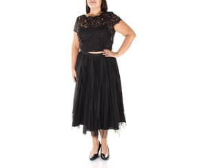 Adrianna Papell Women's Lace Tulle Fit Flare Dress