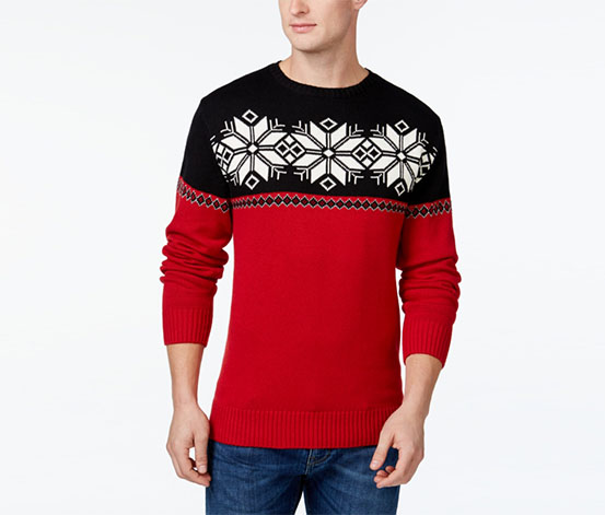 Weatherproof Mens Snowflake Knit Pullover Sweater