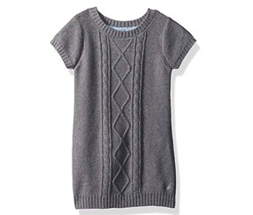 Nautica Toddler Girl's Short Sleeve Sweater Dress, Grey