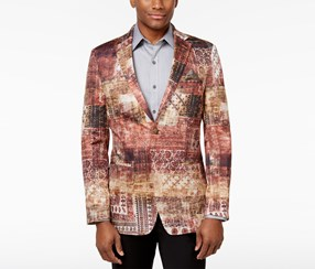 Tallia Men's Slim-Fit Graphic-Print Sport Coat, Wine