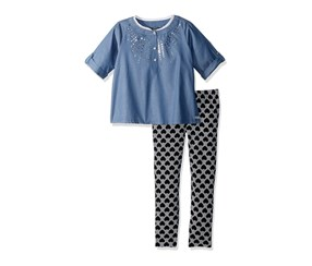 Kensie Girls' 2 Piece Fashion Top And Hearts Legging Set, Black/Chambray
