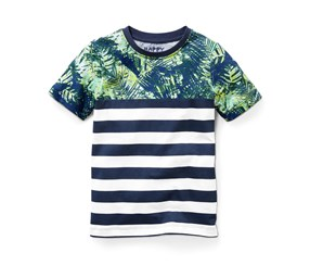 Boy's T-Shirt Short Sleeves, Green/White/Navy Blue