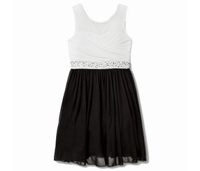 Speechless Embellished Contrast Party, White/Black