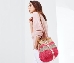 Women's Bucket Bag Striped, Pink/Beige